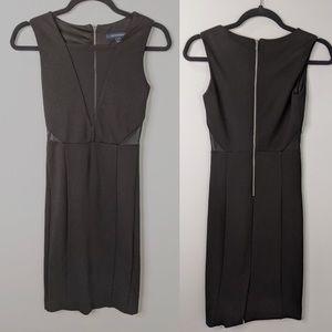 French Connection Mesh Panel V Neck Black Dress